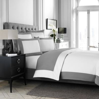 Wamsutta® Hotel MICRO COTTON® Reversible Twin Duvet Cover in White/Charcoal