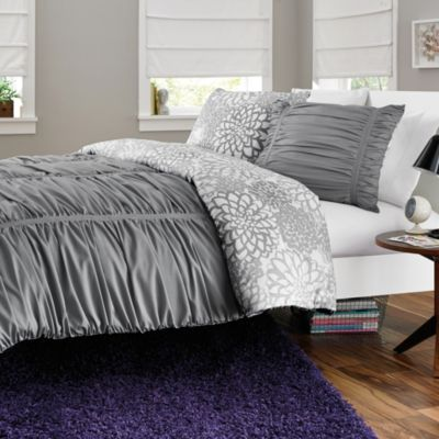 Reagan Reversible Twin/Twin XL Comforter Set in Cool Grey
