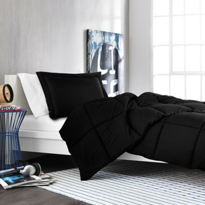 Solid Twin/Twin XL Comforter Set in Black