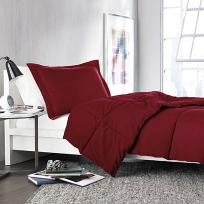 Solid Twin/Twin XL Comforter Set in Burgundy