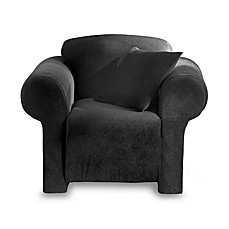 Stretch Pique Black Chair Slipcover
