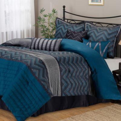 Stratford Park Chevron 7-Piece Queen Comforter Set