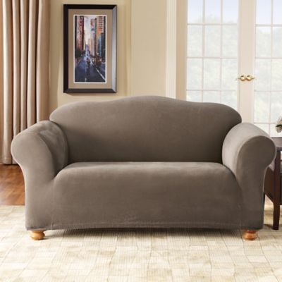 Sure Fit® Stretch Piqué Loveseat Slipcover in Taupe