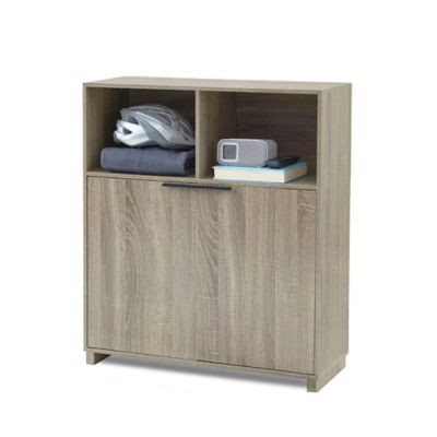 3-Shelf Bookcase with Door in Grey