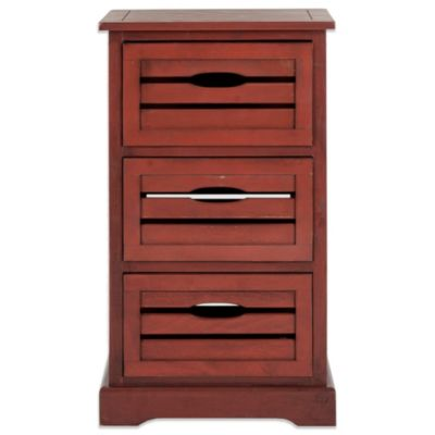 Safavieh Samara 3-Drawer Cabinet in Red