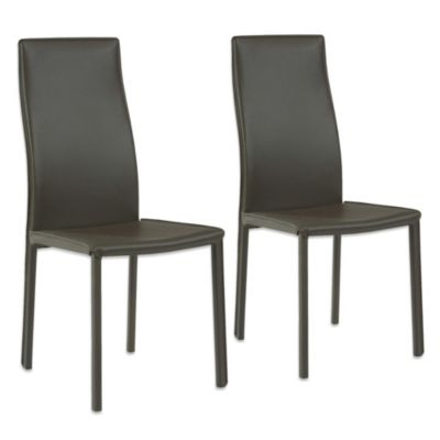 Moe's Home Collection Sedia Dining Chairs in Dark Brown (Set of 2)