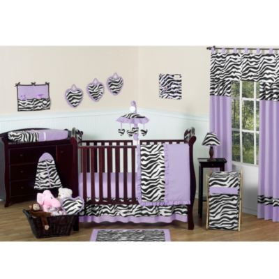 Sweet Jojo Designs Funky Zebra 11-Piece Crib Bedding Set in Purple