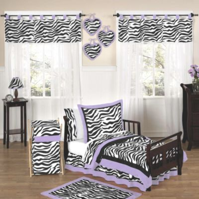 Sweet Jojo Designs Funky Zebra 5-Piece Toddler Bedding Set in Purple