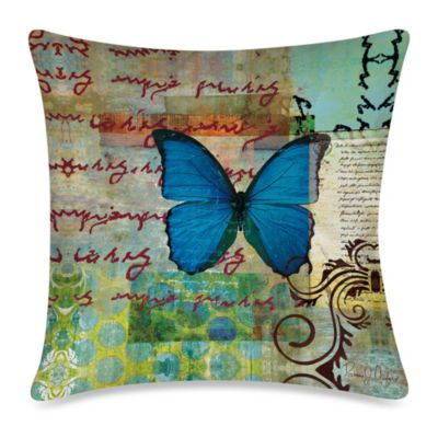 19-Inch Outdoor Throw Pillow in Homespun Butterfly 2