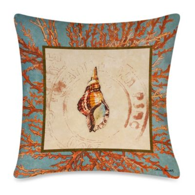 Square Outdoor Throw Pillow in Coral Medley Shell 2