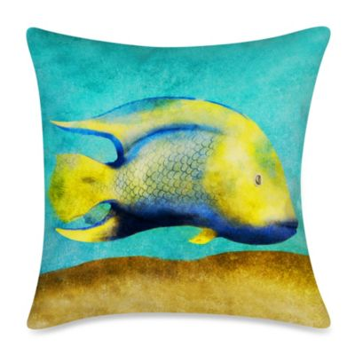 Square Outdoor Throw Pillow in Fish 1
