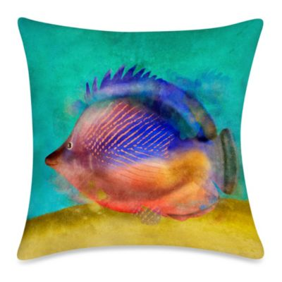 Square Outdoor Throw Pillow in Fish 2