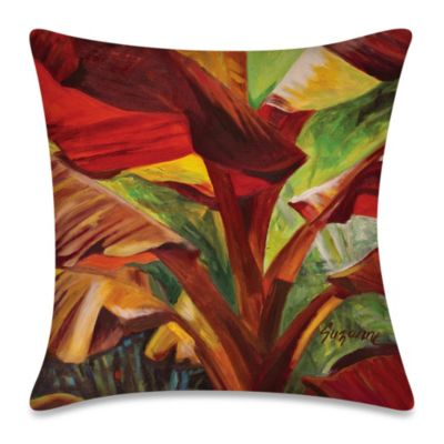 Square Outdoor Throw Pillow in Banana Duo 1