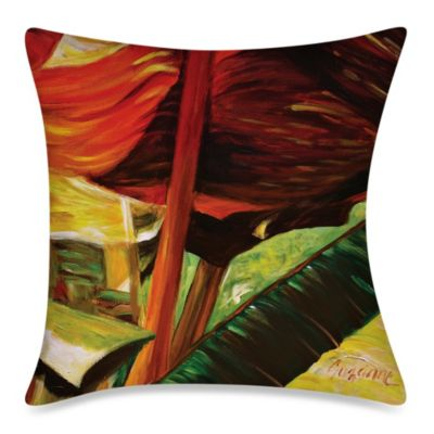 Square Outdoor Throw Pillow in Banana Duo 2