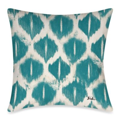 Colored IKats 3 Square Outdoor Throw Pillow in Blue