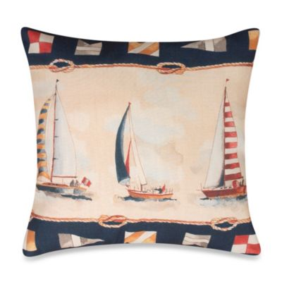 Sunday Sailboats Square Outdoor Throw Pillow