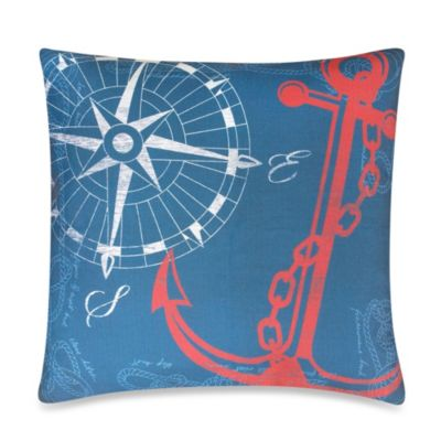 Anchors Away Outdoor Throw Pillow in Nautical