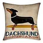 Dachshund Longboards 19-Inch Outdoor Toss Pillow