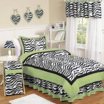 Sweet Jojo Designs Funky Zebra 4-Piece Twin Bedding Set in Lime
