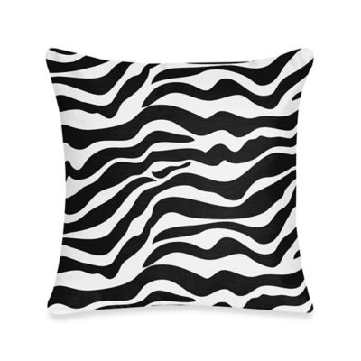 Sweet Jojo Designs Funky Zebra 18-Inch Decorative Toss Pillow in Black/White