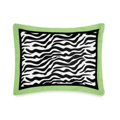 Sweet Jojo Designs Funky Zebra Standard Pillow Sham in Lime