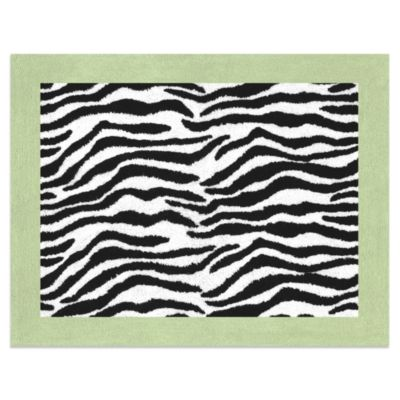 Sweet Jojo Designs Funky Zebra Floor Rug in Lime