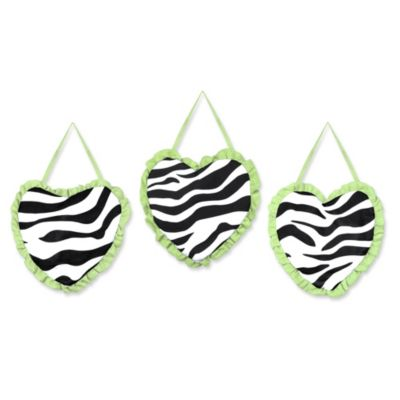 Sweet Jojo Designs Funky Zebra 3-Piece Wall Hanging Set in Lime