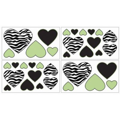 Sweet Jojo Designs Funky Zebra Crib Wall Decals in Lime (Set of 4)