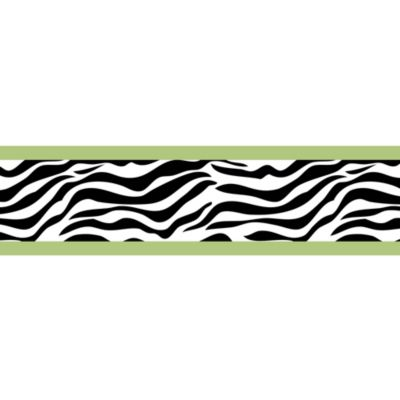 Sweet Jojo Designs Funky Zebra Wallpaper Border in Lime