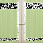 Sweet Jojo Designs Funky Zebra 84-Inch Window Panel Pair in Lime