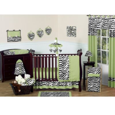 Sweet Jojo Designs Funky Zebra 11-Piece Crib Bedding Set in Lime