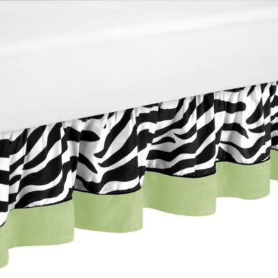 Sweet Jojo Designs Funky Zebra Toddler Bed Skirt in Lime