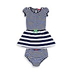 Izod Striped Polo Dress with Diaper Cover in Navy