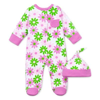 Offspring Footie and Hat Set in Pink Daisy