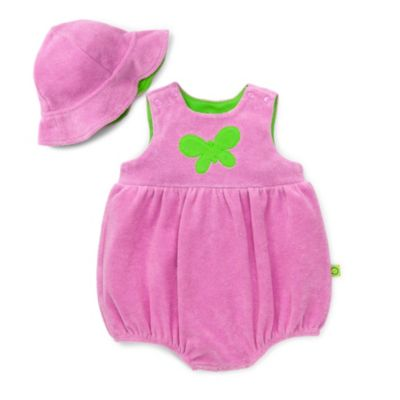 Offspring Butterfly Terry Romper and Hat Set in Cyclamen Pink