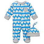 Offspring Blue Elephant Print Footie with Cap