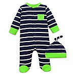 Offspring Footie with Hat in Navy/Green