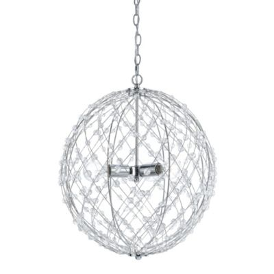AF Lighting Spherical Silver Web 3-Light Pendant