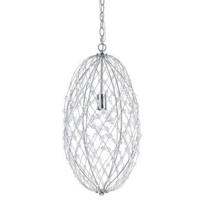 AF Lighting Oval Silver Web Pendant