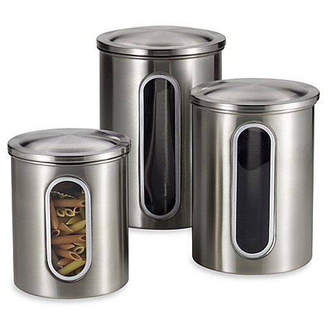 Polder® Brushed Stainless Steel Window Canisters (Set of 3 ...