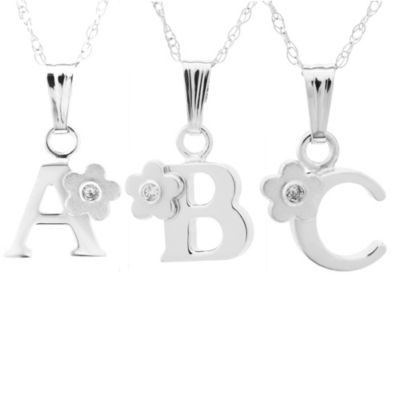"Precious Things Children's Sterling Silver .01 cttw Diamond Initial ""A"" Pendant"