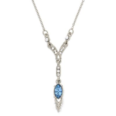 Downton Abbey® Jewellery Silvertone Simulated Aquamarine and Crystal Necklace