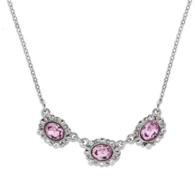 Downton Abbey® Jewellery Silvertone Three-Stone Crystal Necklace in Light Amethyst