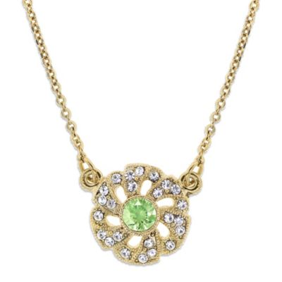 Downton Abbey® Jewellery Goldtone Simulated Chrysolite Crystal Flower Pendant
