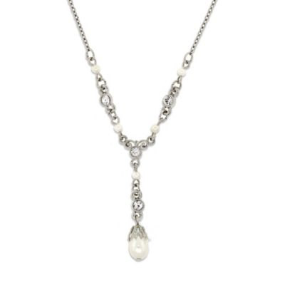 Downton Abbey® Jewellery Silvertone Simulated Pearls and Crystals Y-Drop Necklace