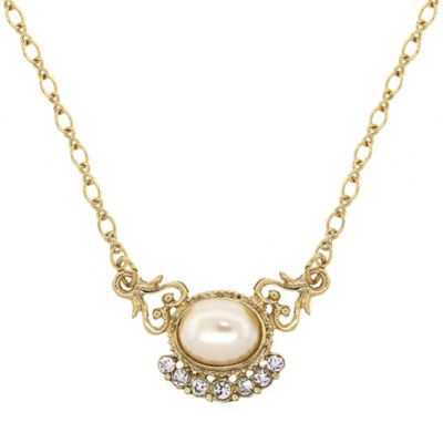 Downton Abbey® Jewellery Goldtone Simulated Oval Pearl and Crystal Necklace