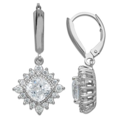 Gemma with Love™ made with Swarovski® Zirconia Sterling Silver Framed Drop Earrings