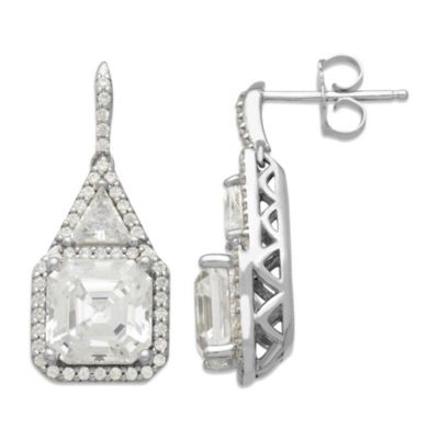 Gemma with Love™ made with Swarovski® Zirconia Sterling Silver Framed Square Drop Earrings