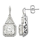 Gemma with Love by Swarovski Zirconia Sterling Silver Framed Square Drop Earrings