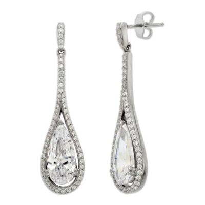 Gemma with Love™ made with Swarovski® Zirconia Sterling Silver Framed Pear Drop Earrings